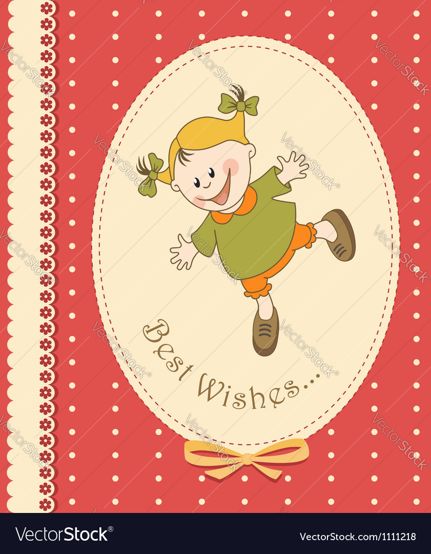 Happy kid greeting card vector | Price:  Credit (USD $)