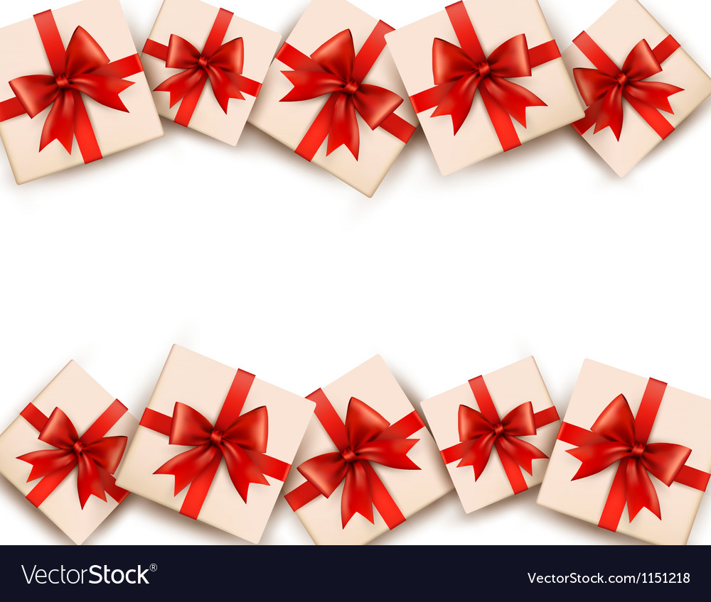 Holiday background with gift boxes and red bows vector | Price: 1 Credit (USD $1)