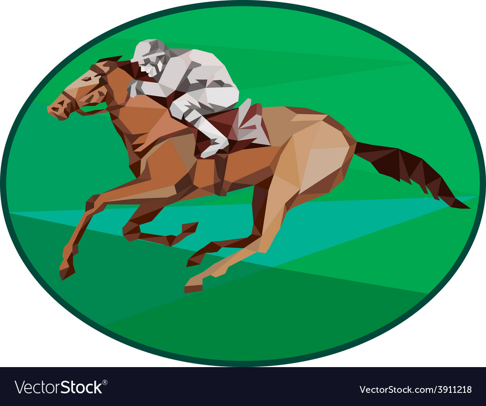 Jockey horse racing oval low polygon vector | Price: 1 Credit (USD $1)