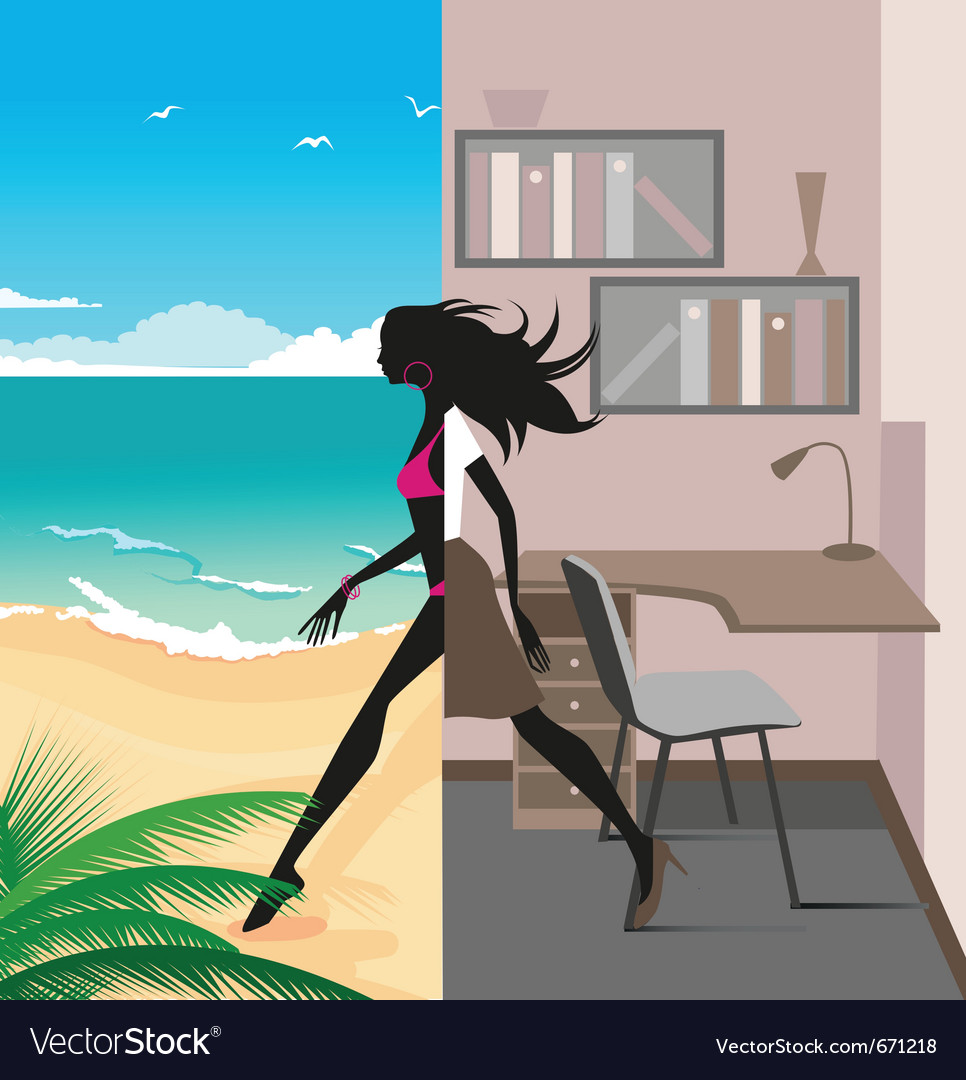 Office to vacation vector | Price: 1 Credit (USD $1)