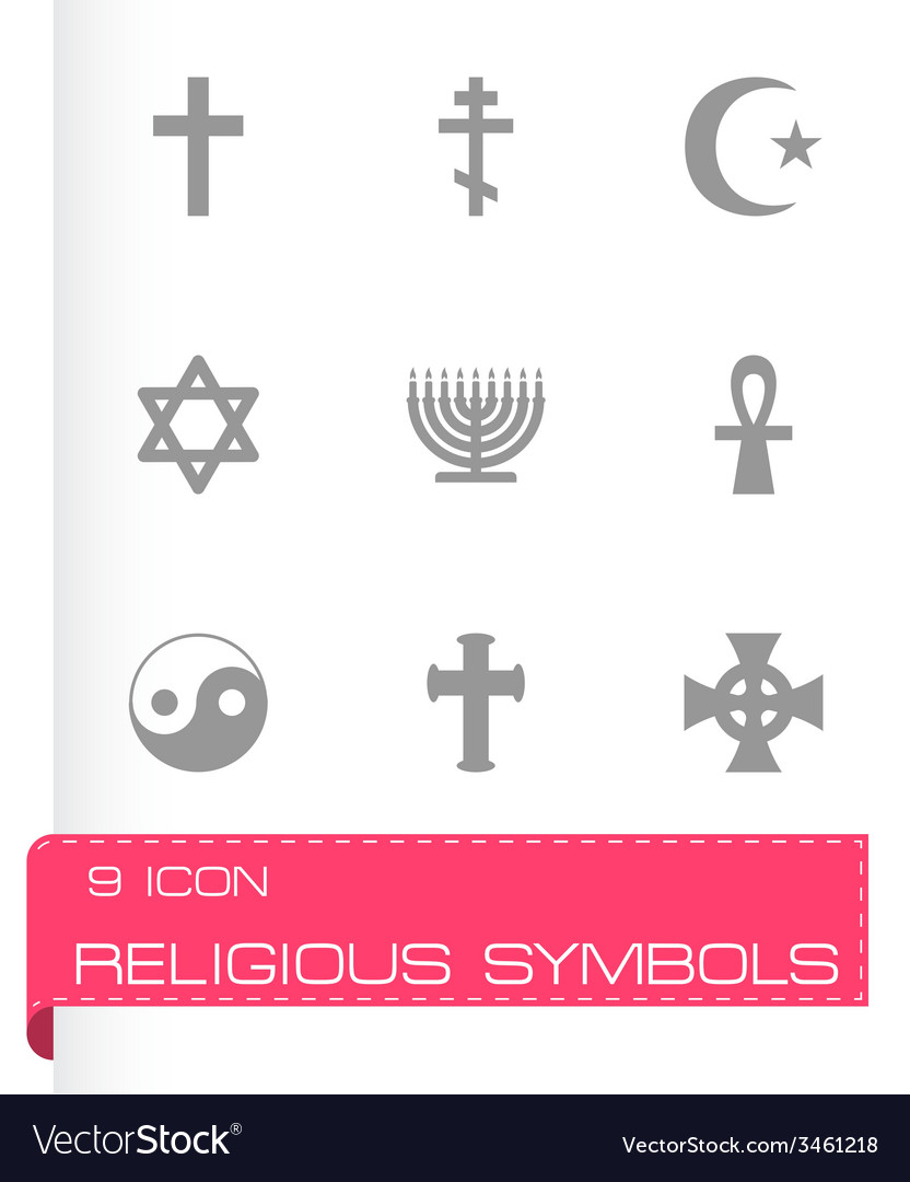 Religious symbols icon set vector | Price: 1 Credit (USD $1)