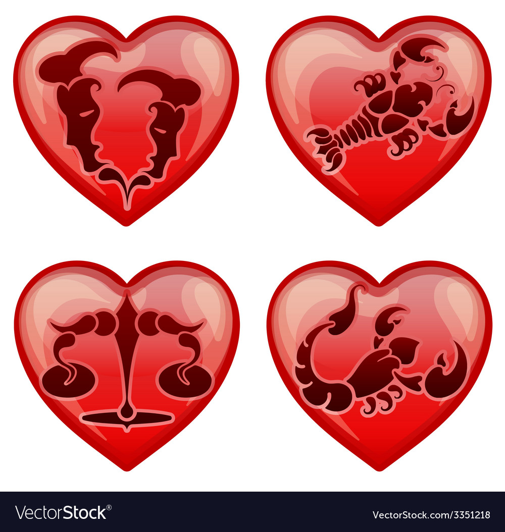 Set stylish zodiac signs in the shape heart vector | Price: 1 Credit (USD $1)