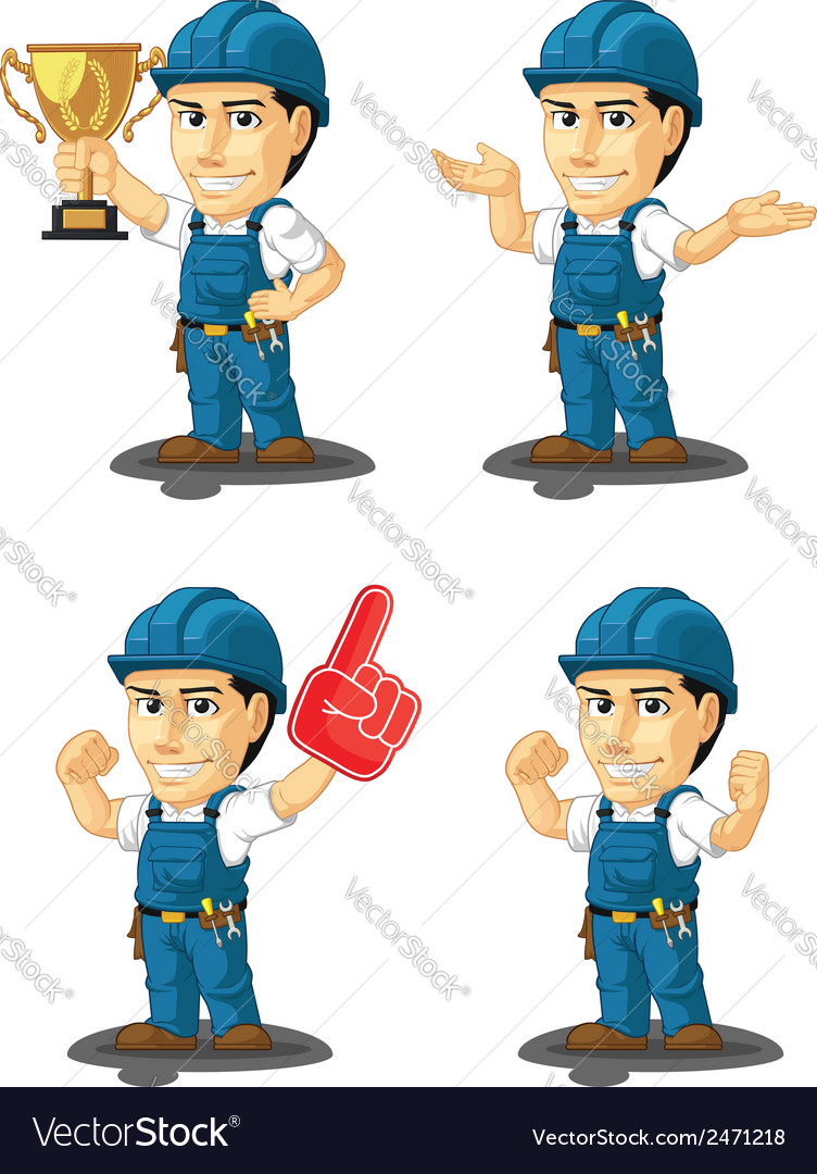 Technician or repairman mascot 14 vector | Price: 1 Credit (USD $1)