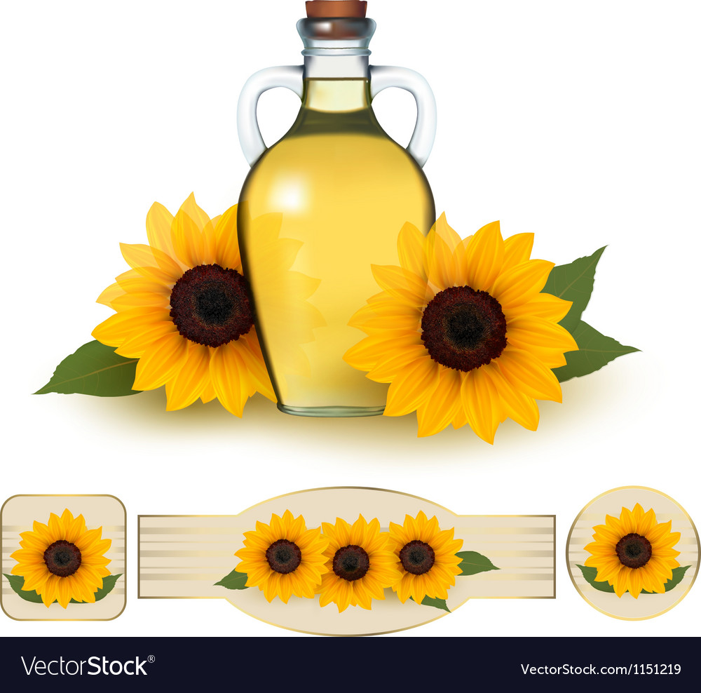 Bottle of sunflower oil with flower and labels vector | Price: 1 Credit (USD $1)