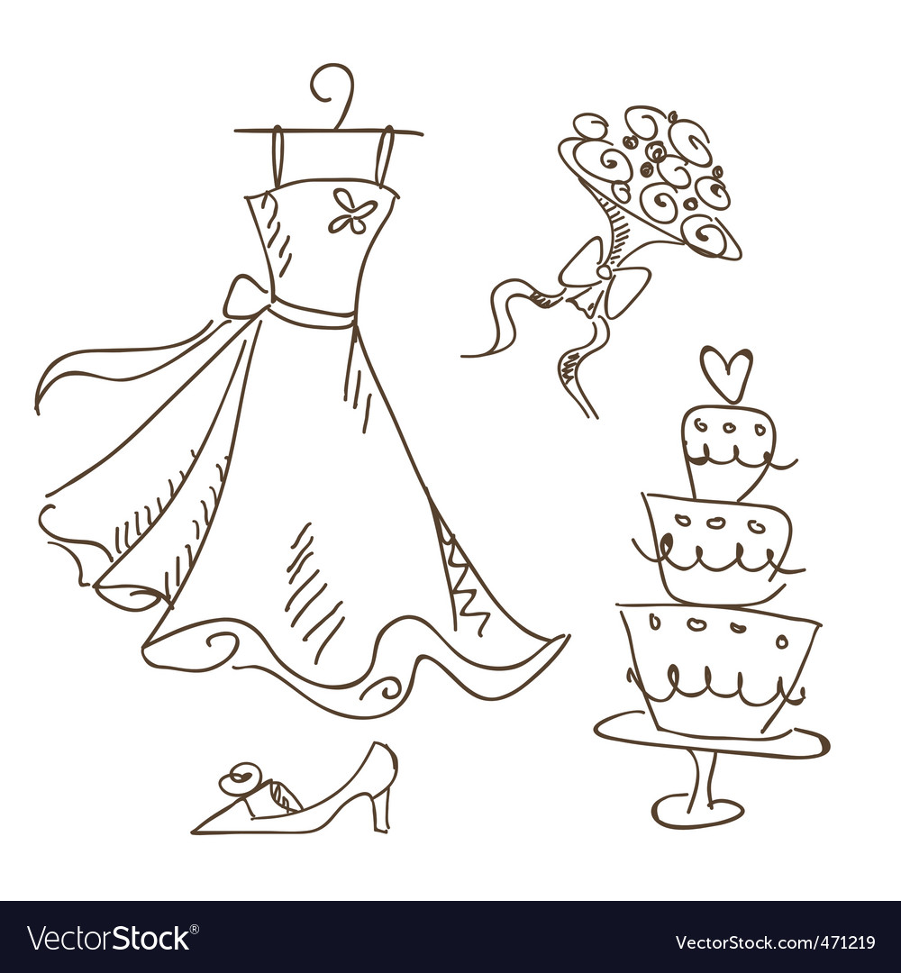 Bride sketch vector | Price: 1 Credit (USD $1)