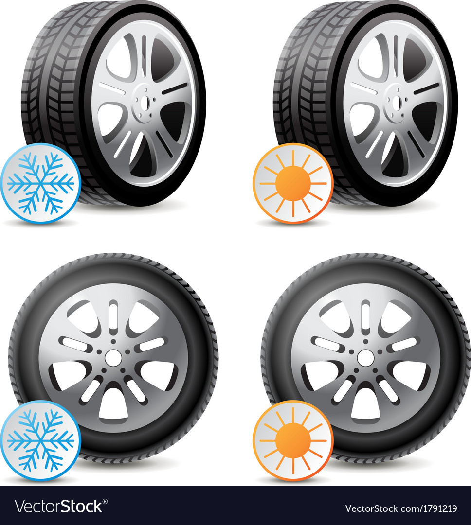 Car wheels with winter and summer tires vector | Price: 1 Credit (USD $1)