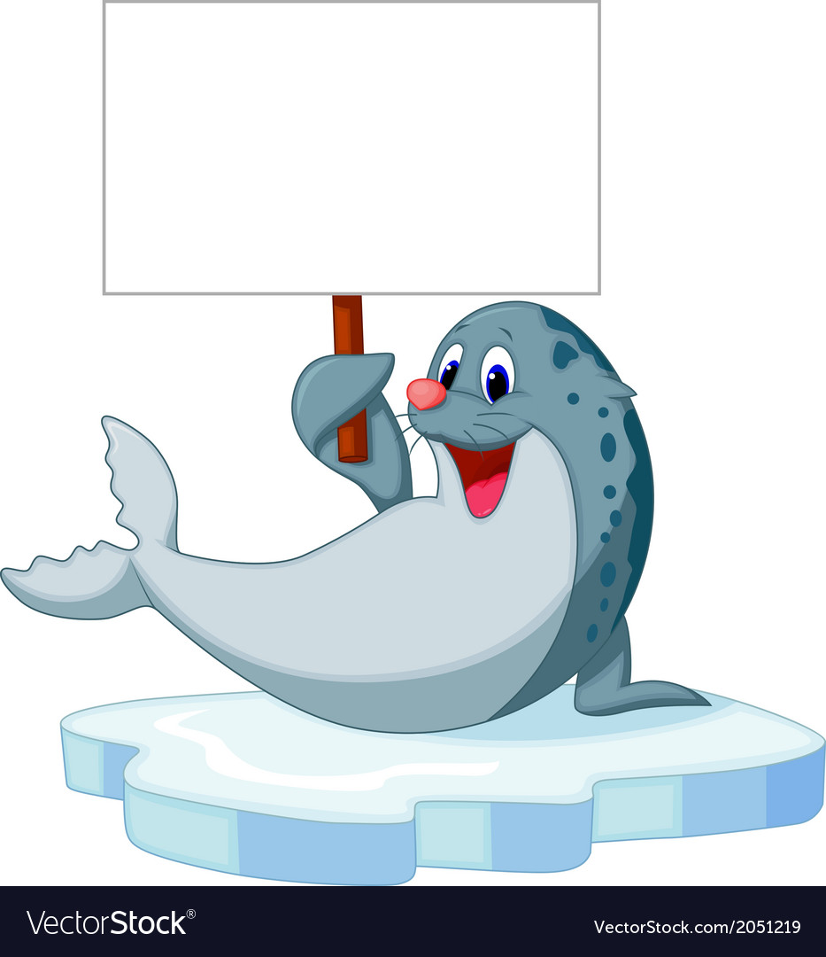 Cute seal cartoon holding blank sign vector   Price: 1 Credit (USD $1)