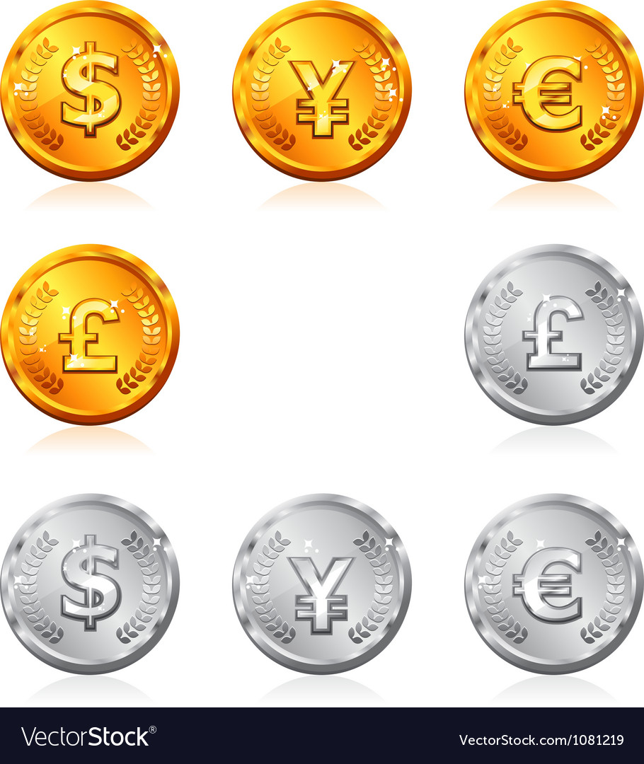 Gold and silver coins vector | Price: 1 Credit (USD $1)