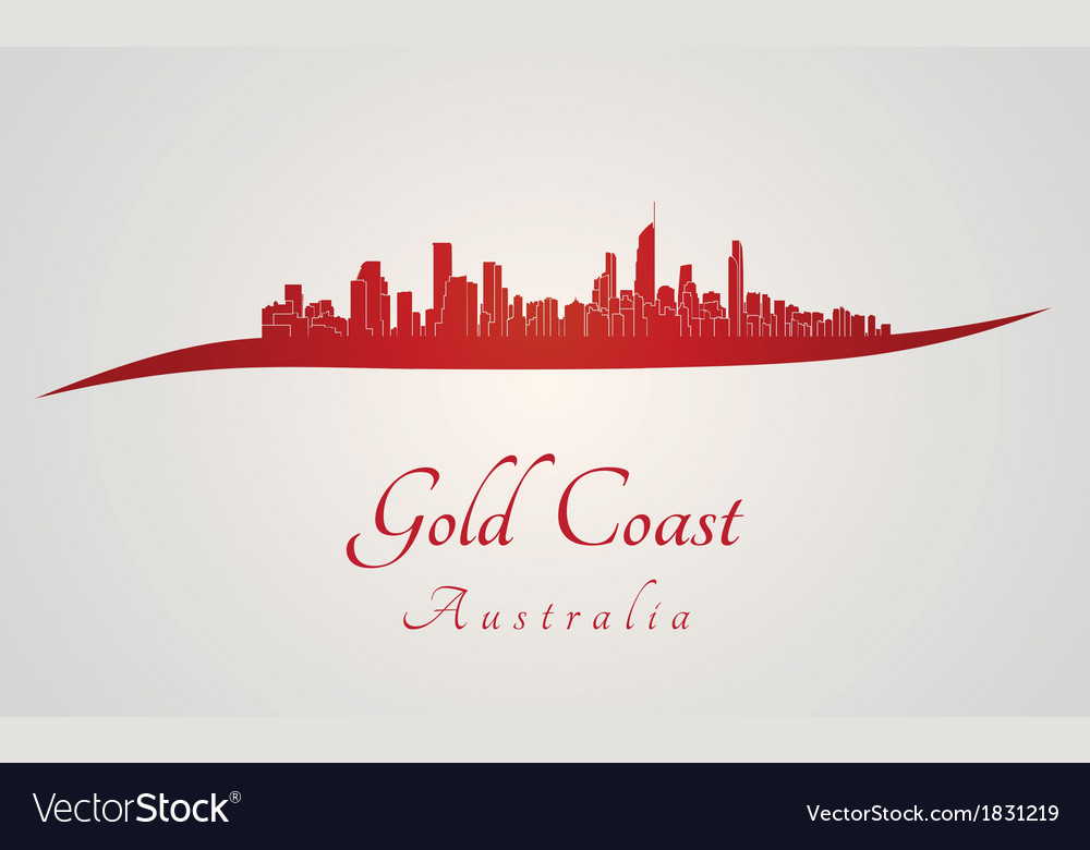 Gold coast skyline in red vector | Price: 1 Credit (USD $1)