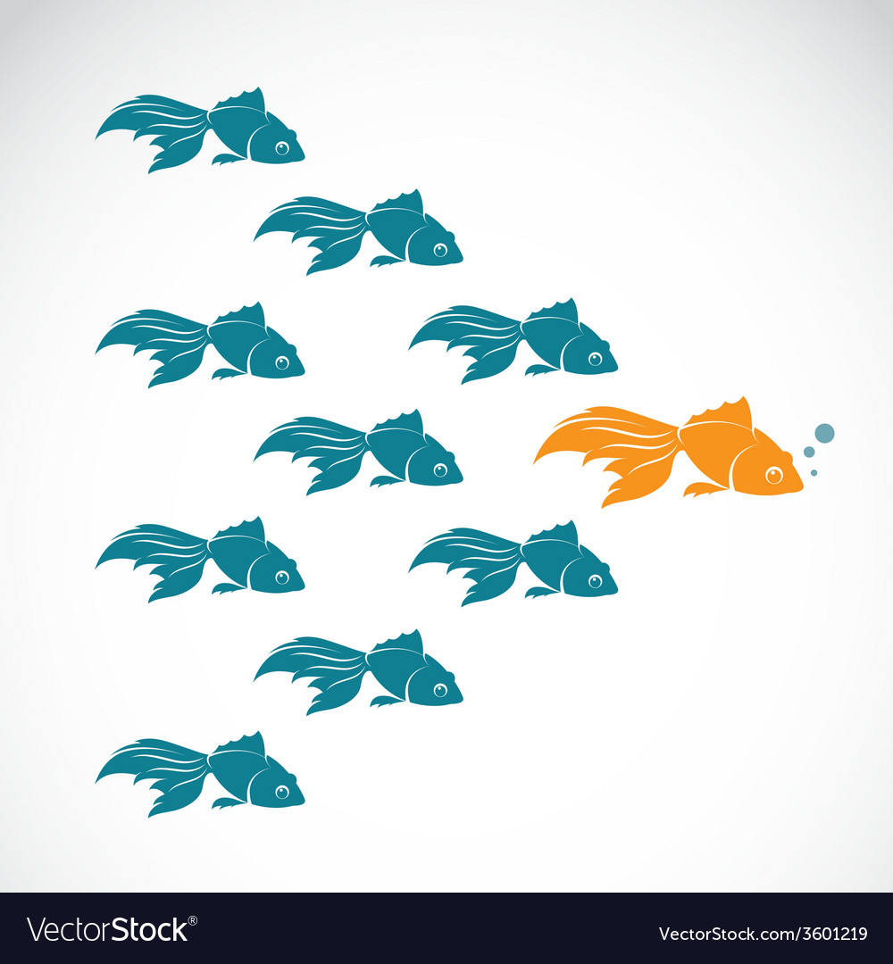 Image of an goldfish showing leader individuality vector | Price: 1 Credit (USD $1)
