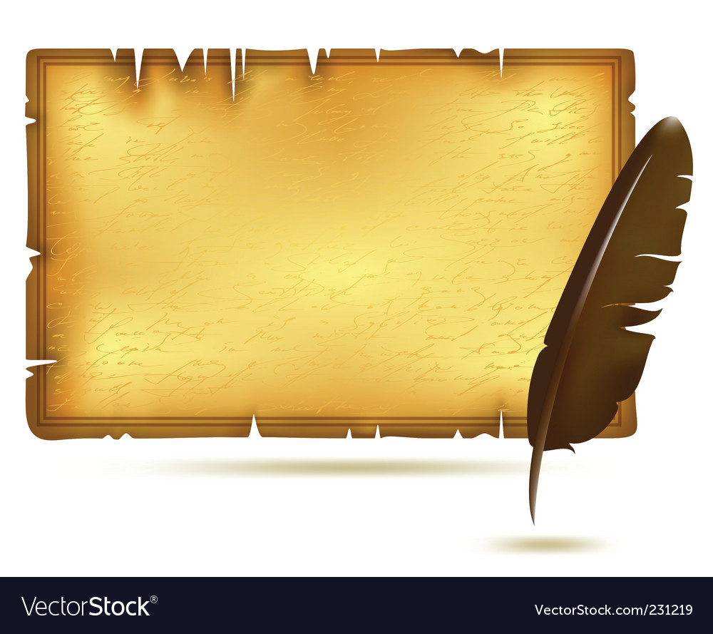Paper with feather vector | Price: 1 Credit (USD $1)