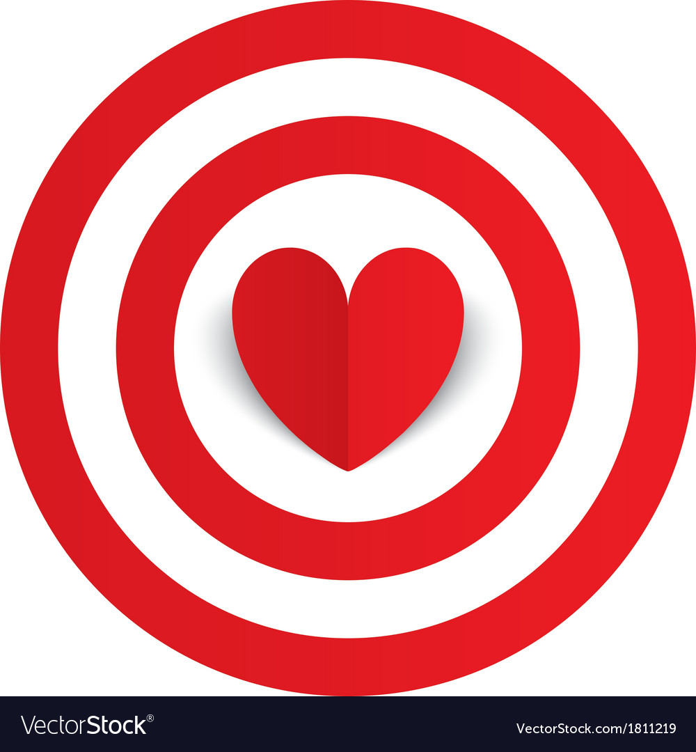 Red paper heart in the center of darts target aim vector | Price: 1 Credit (USD $1)