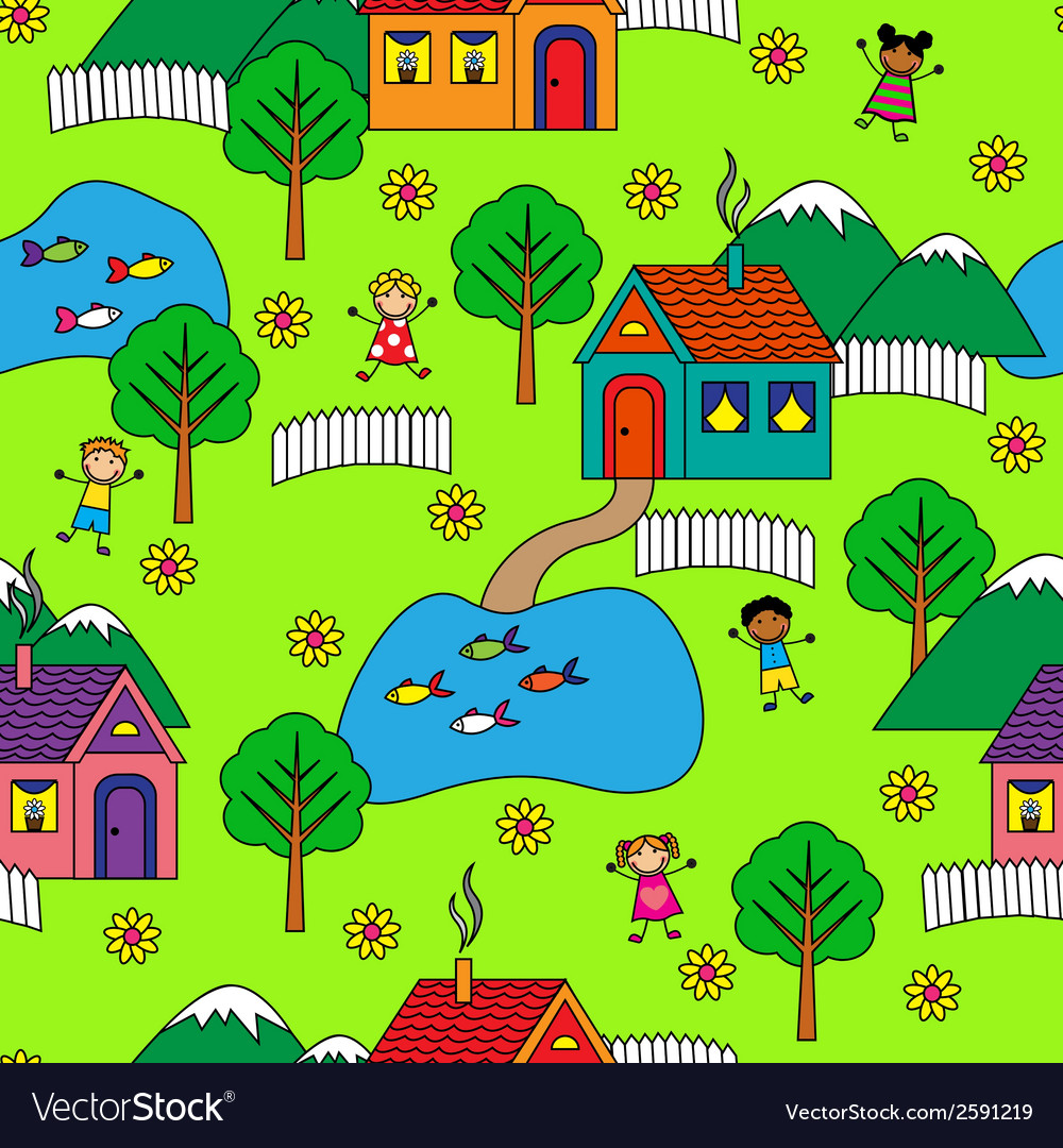 Seamless pattern with houses trees and people vector | Price: 1 Credit (USD $1)