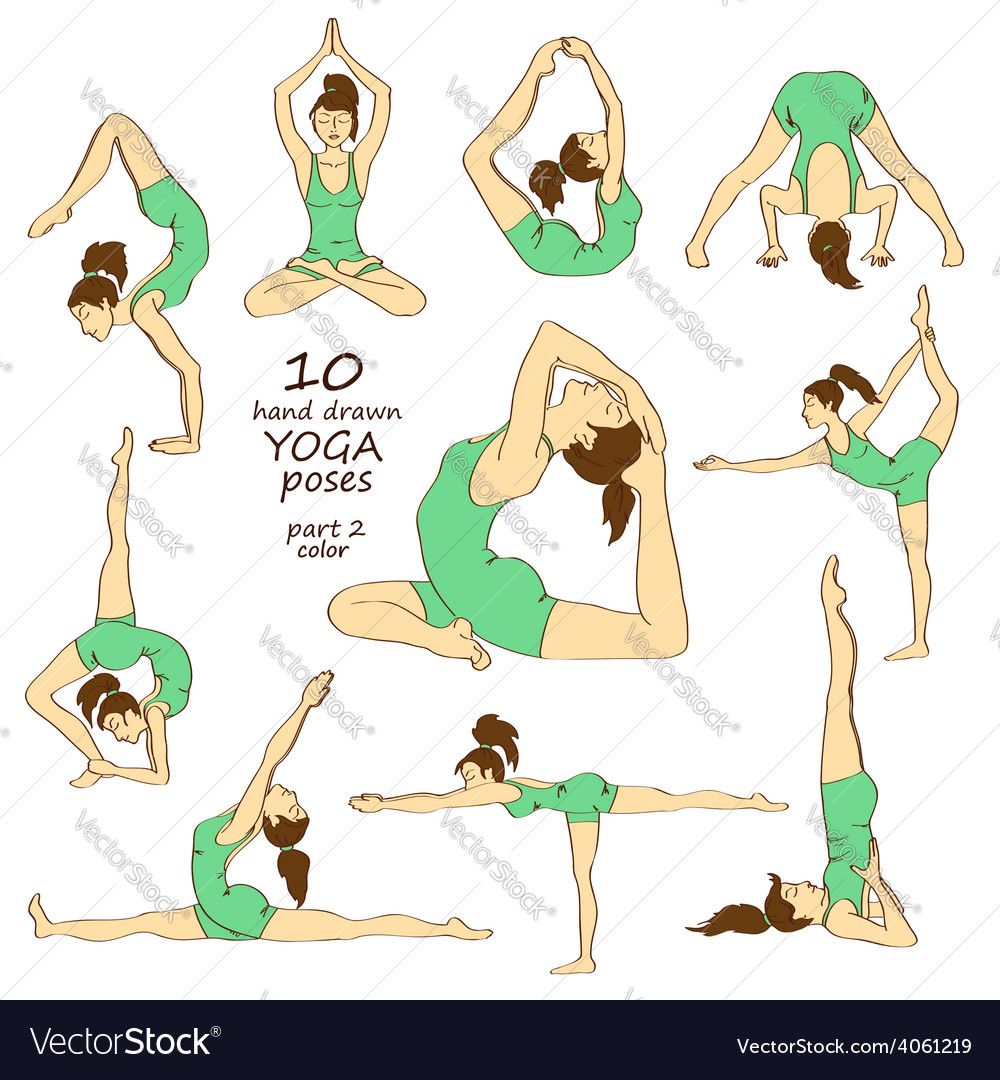 Set of isolated yoga poses vector | Price: 1 Credit (USD $1)