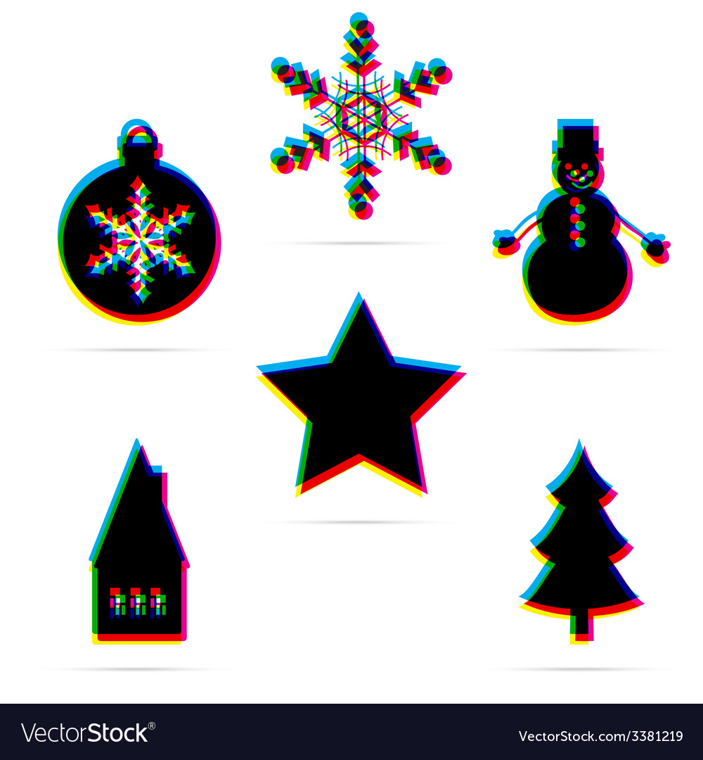 Six winter holiday flat icon vector | Price: 1 Credit (USD $1)