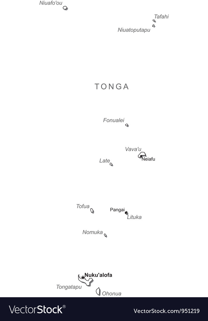Tonga black white map with major cities vector | Price: 1 Credit (USD $1)
