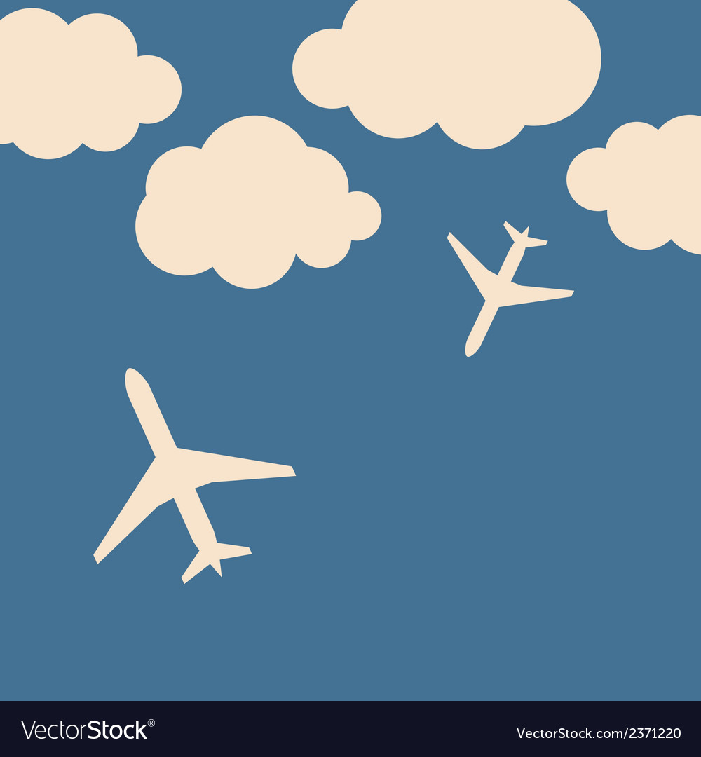 Abstract background with airplanes and clouds vector | Price: 1 Credit (USD $1)