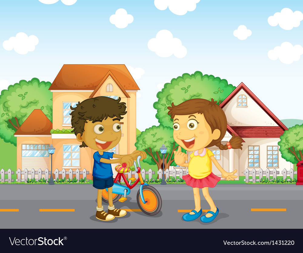 Children talking outside vector   Price: 1 Credit (USD $1)