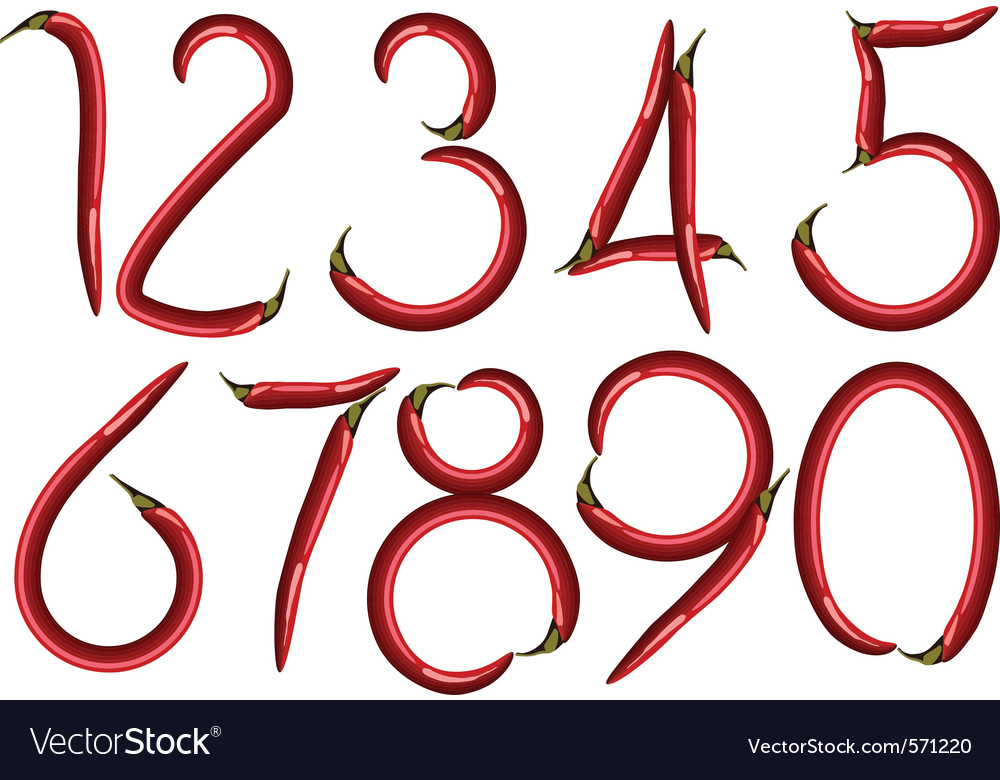 Chili numbers vector | Price: 1 Credit (USD $1)