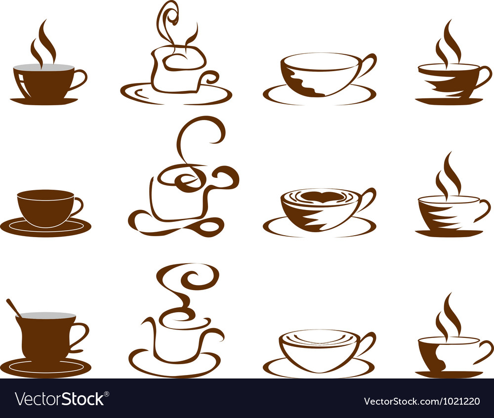 Coffee cups icon set vector | Price: 1 Credit (USD $1)