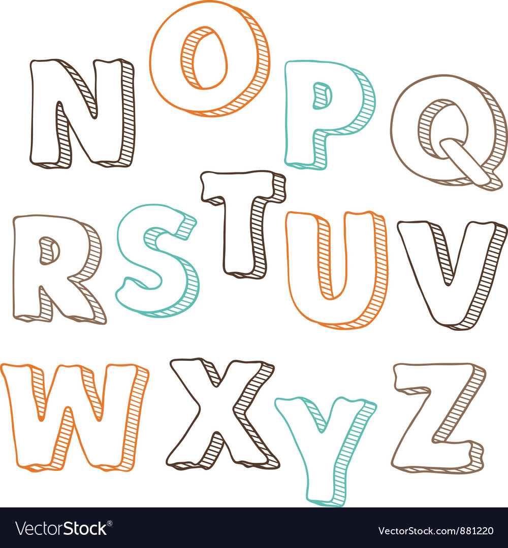 Cute hand drawn font letters set n-z vector | Price: 1 Credit (USD $1)