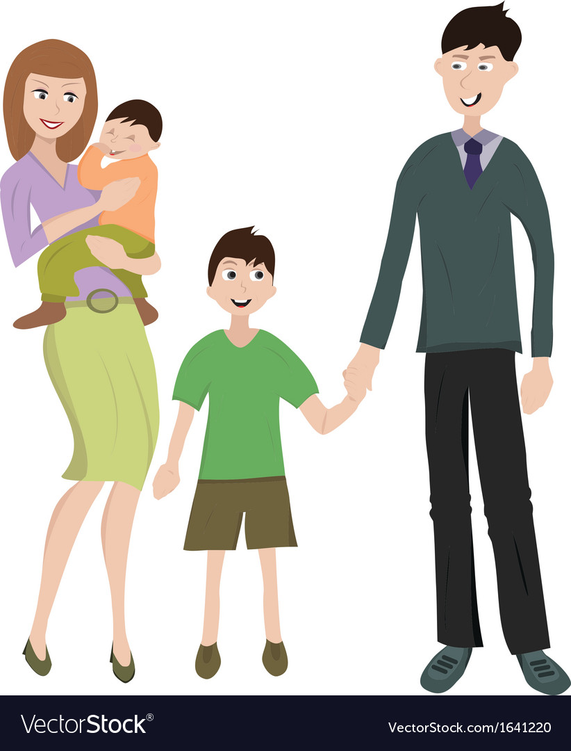 Family with two childs vector | Price: 1 Credit (USD $1)