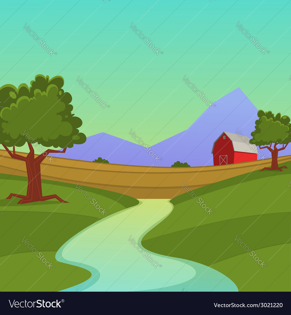 Farm landscape vector | Price: 1 Credit (USD $1)