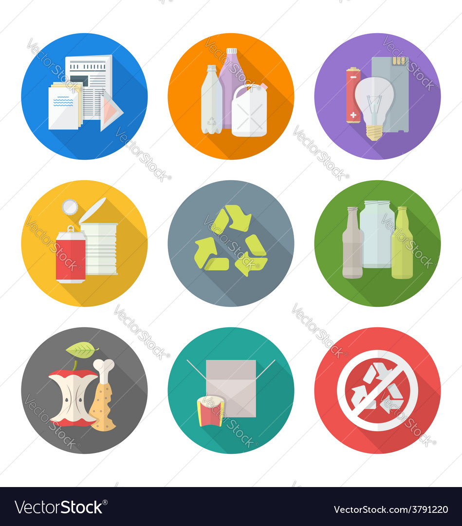 Flat design different waste recycle separate vector | Price: 1 Credit (USD $1)