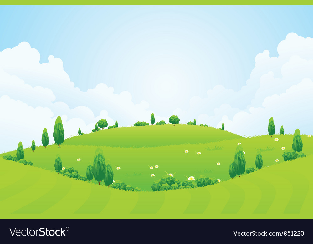 Green background with grass trees flowers and hill vector | Price: 1 Credit (USD $1)
