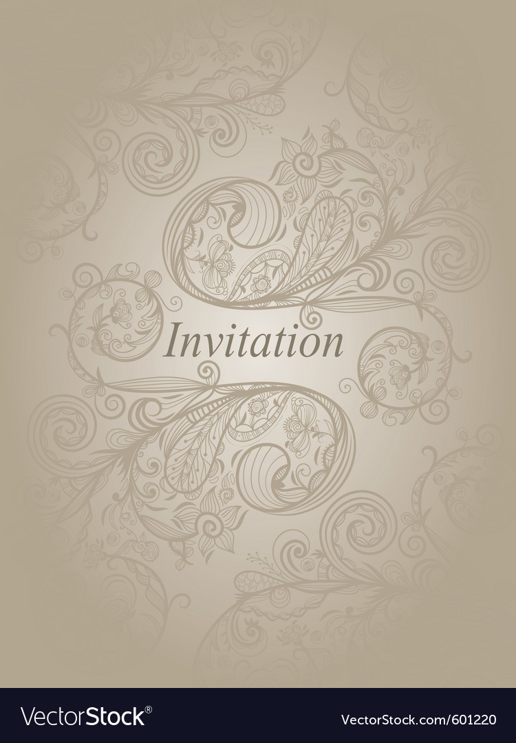 Invitation template with abstract floral pattern vector | Price: 1 Credit (USD $1)