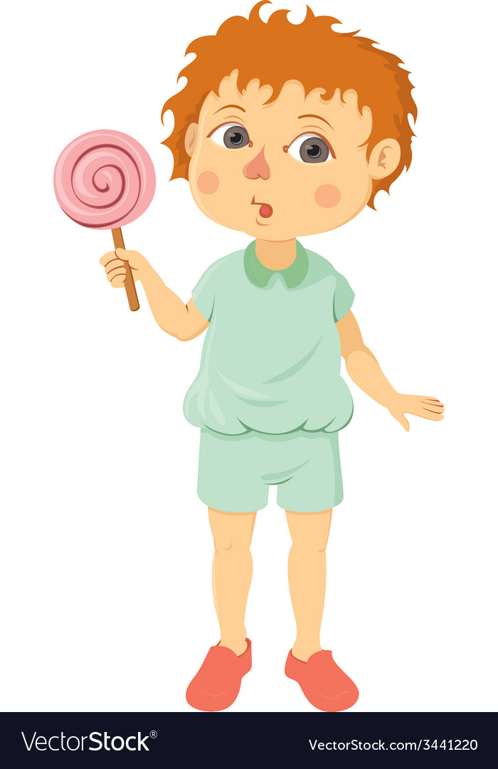 Little boy with lollipop vector | Price: 1 Credit (USD $1)