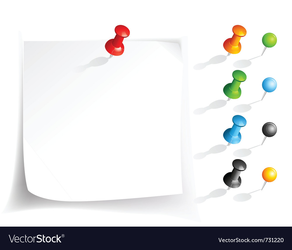 Note paper and pins vector | Price: 1 Credit (USD $1)