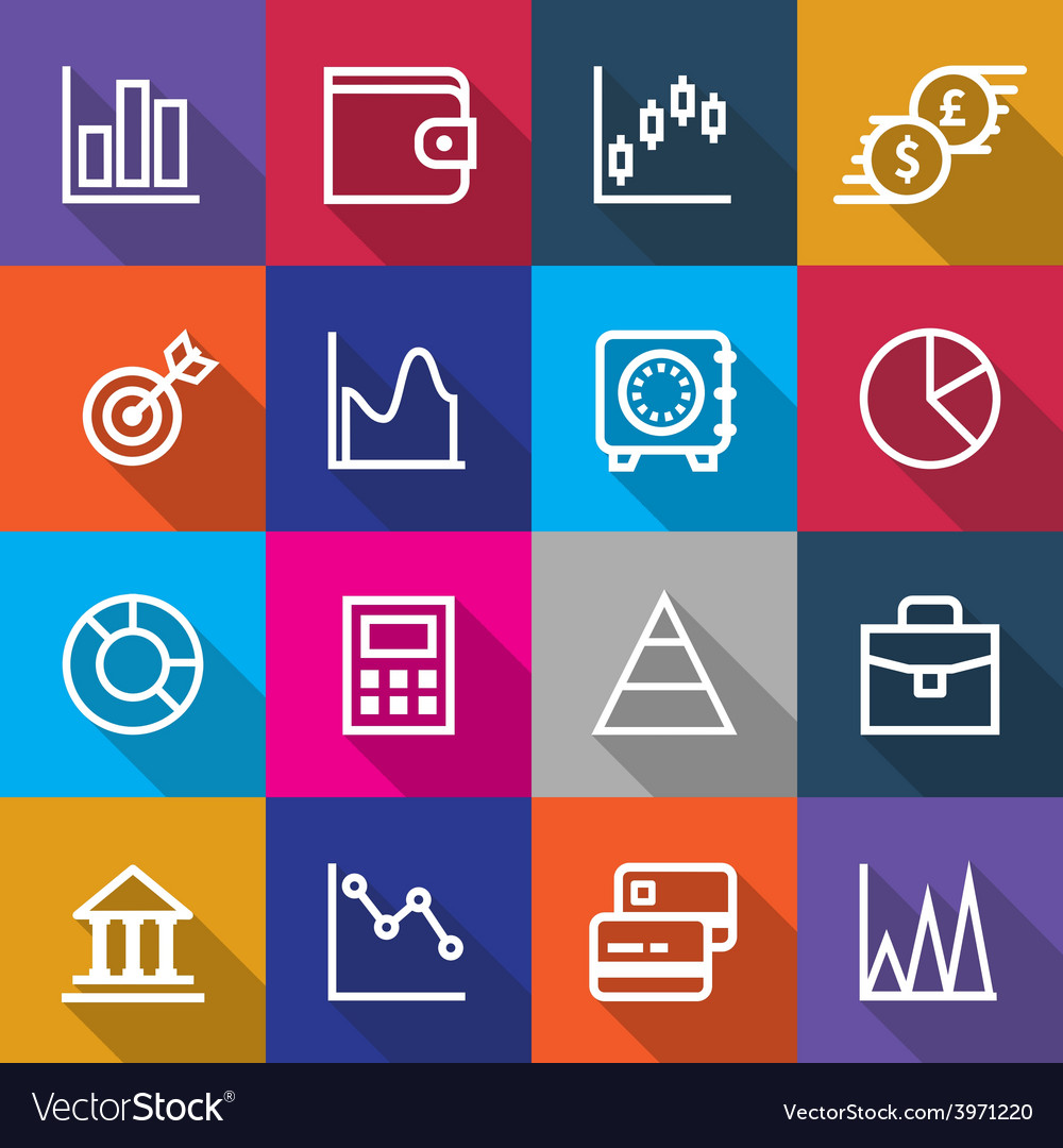 Set of business finance icons designs vector | Price: 1 Credit (USD $1)