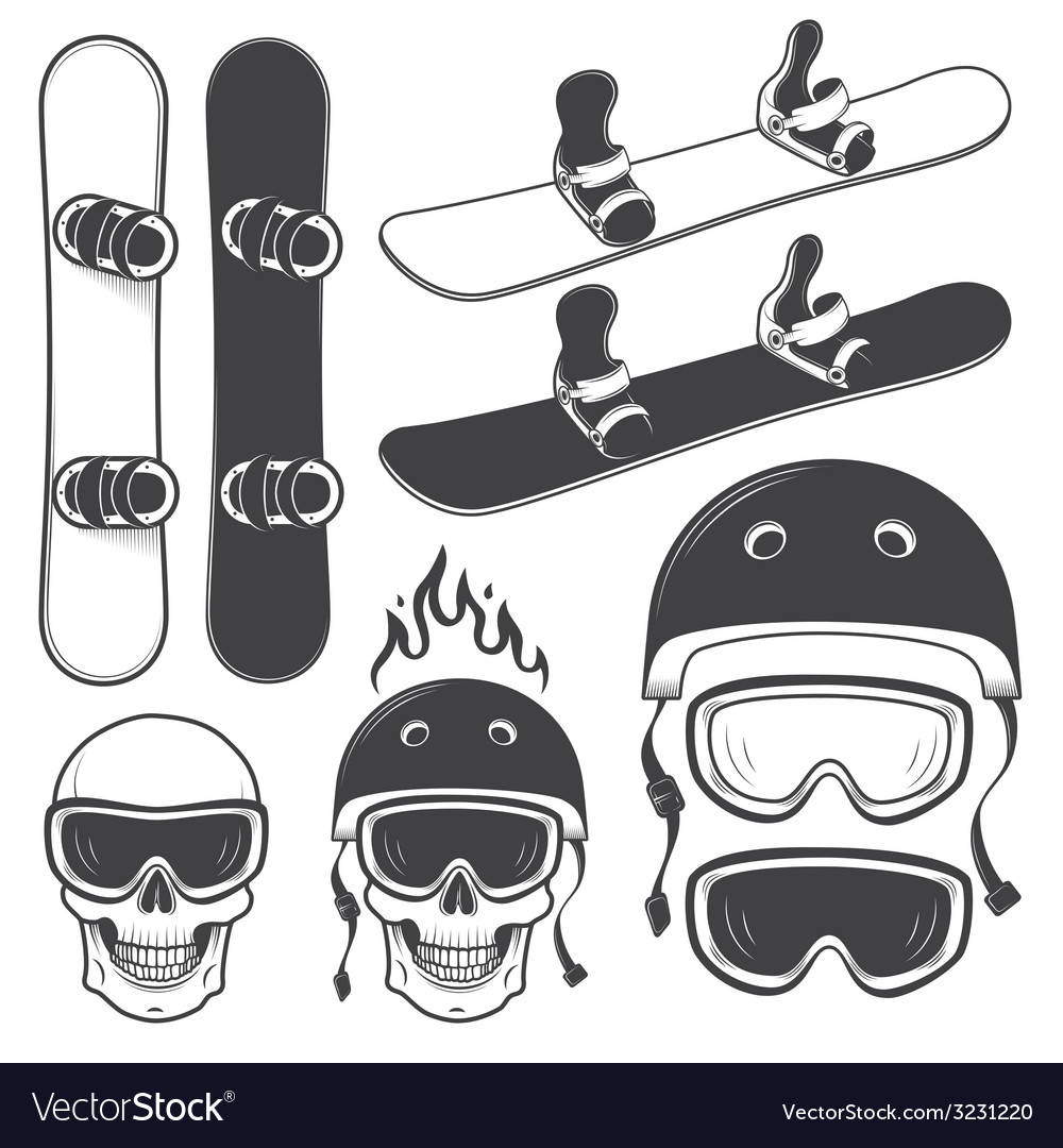 Snowboard set vector | Price: 1 Credit (USD $1)