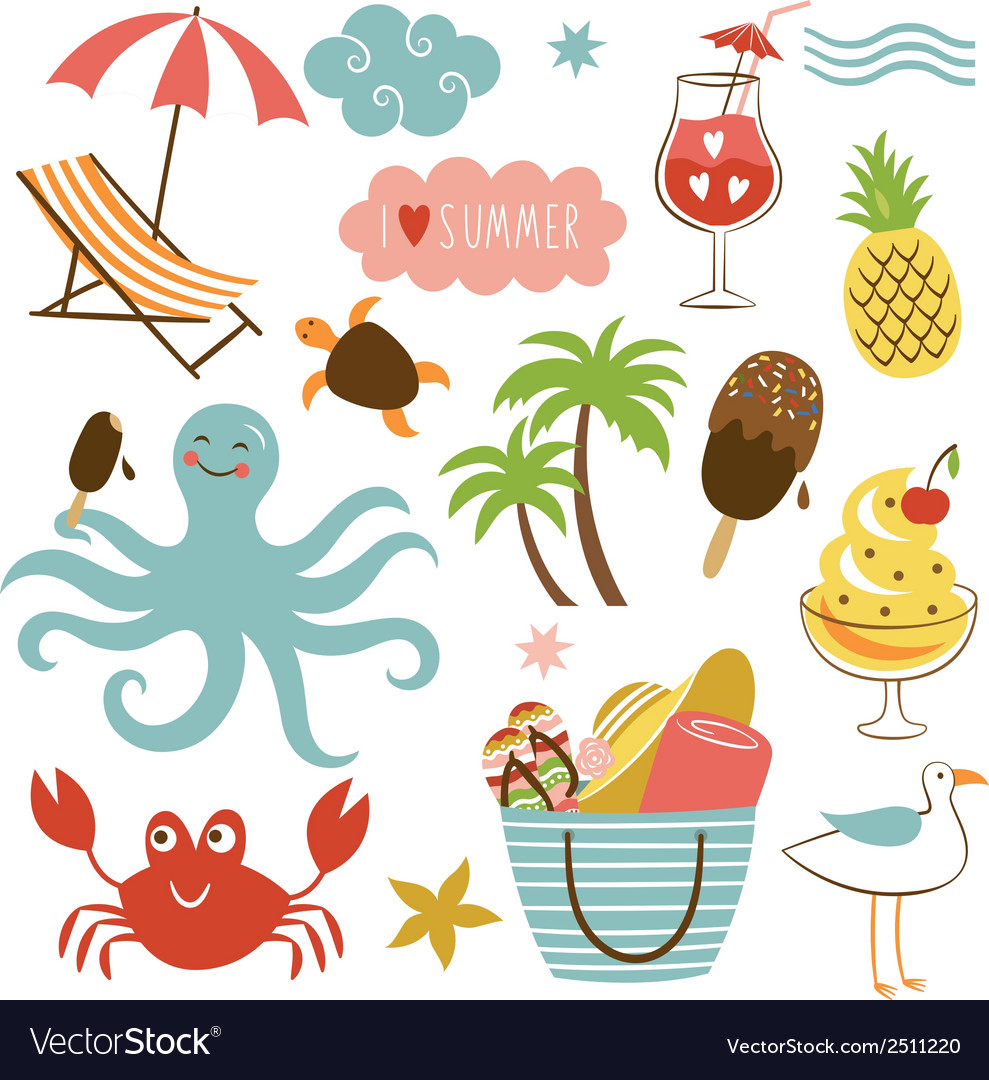 Summer images set vector | Price: 3 Credit (USD $3)