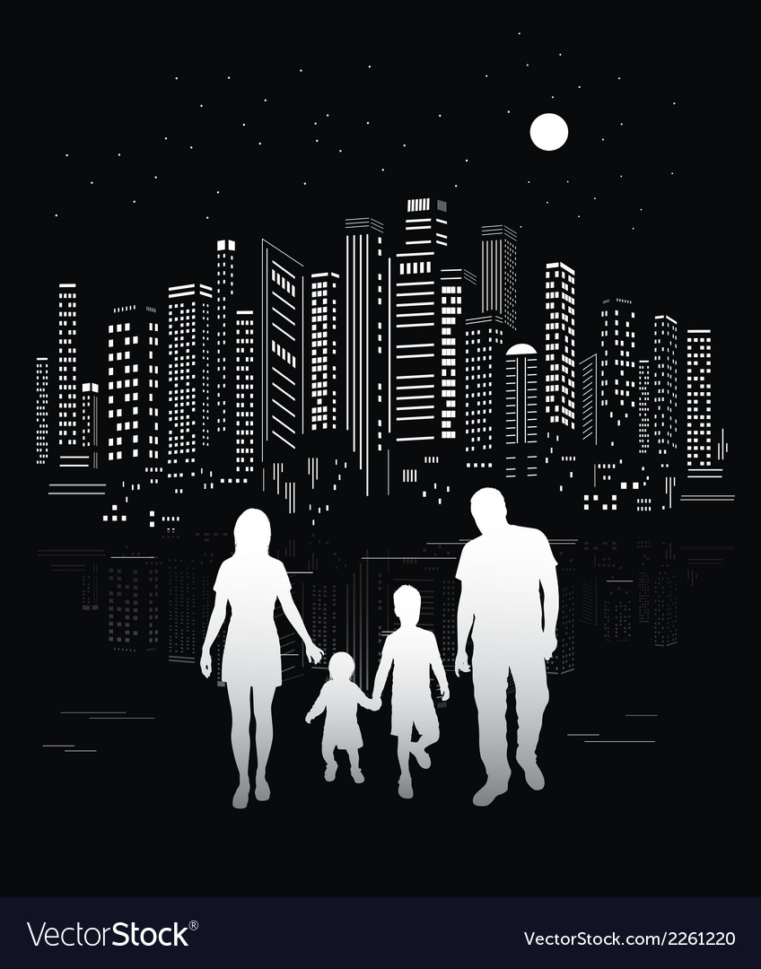 Urban background and family silhouettes vector | Price: 1 Credit (USD $1)