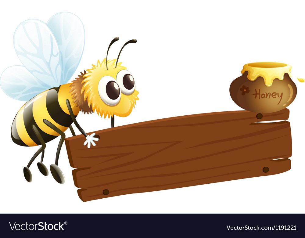 A bee and the empty signage vector | Price: 1 Credit (USD $1)
