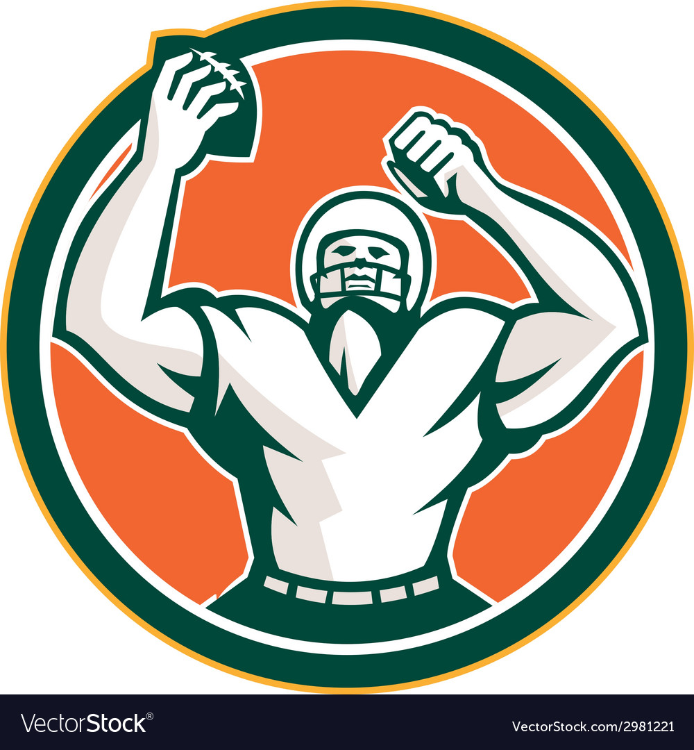 American football holding ball celebrating retro vector | Price: 1 Credit (USD $1)