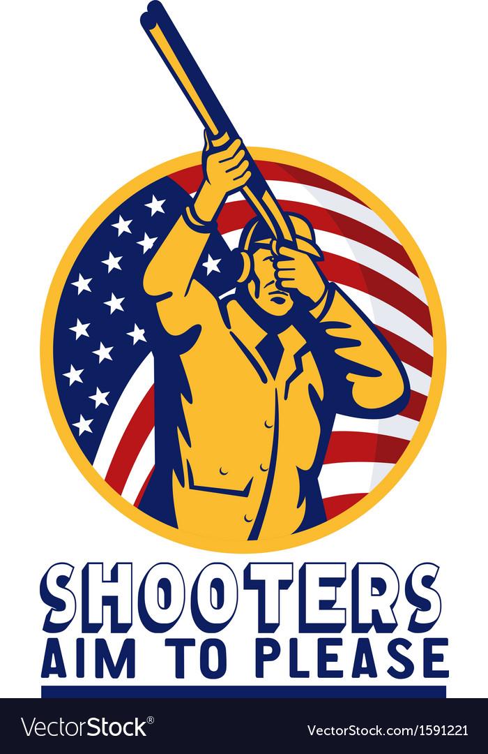 American hunter aiming shotgun rifle flag vector | Price: 1 Credit (USD $1)