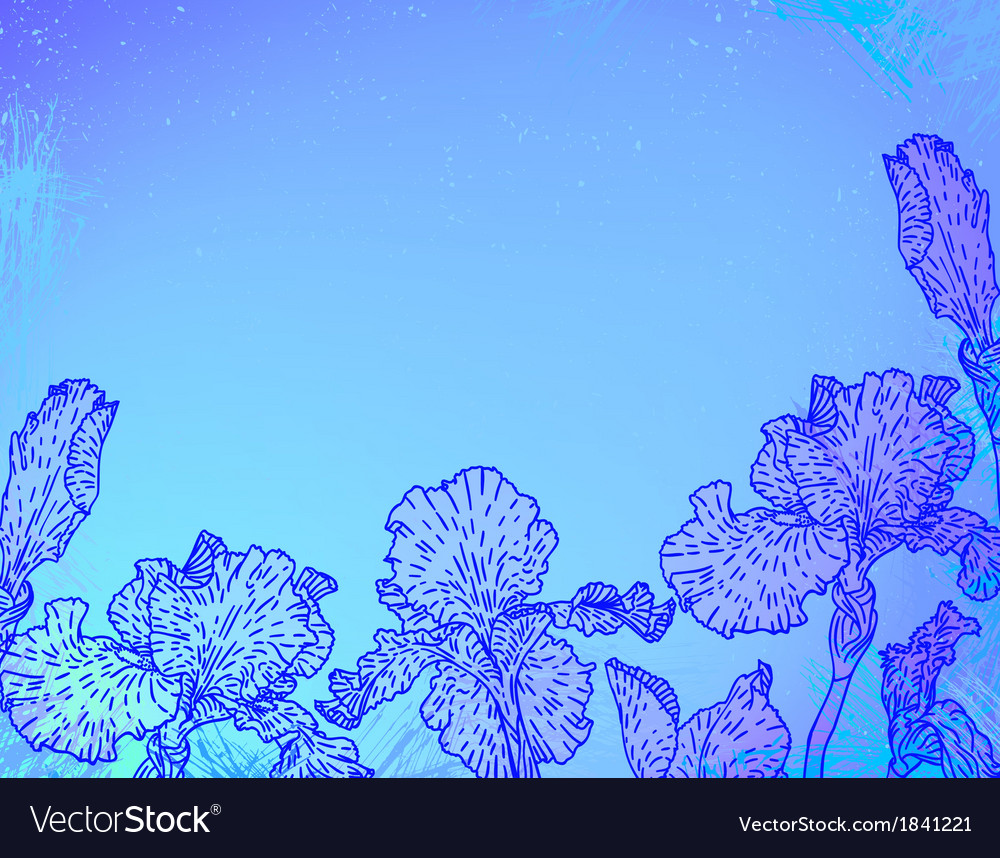 Card with iris flowers on blue watercolour vector | Price: 1 Credit (USD $1)