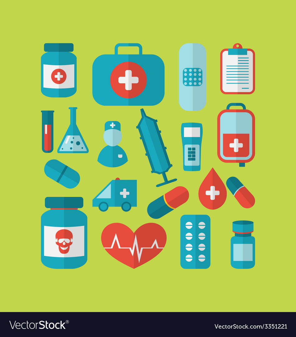 Collection trendy flat medical icons - vector | Price: 1 Credit (USD $1)