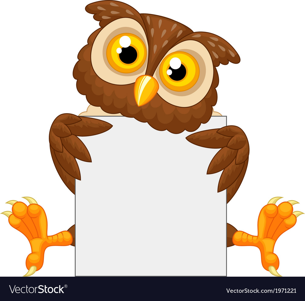 Cute owl cartoon holding blank sign vector | Price: 1 Credit (USD $1)