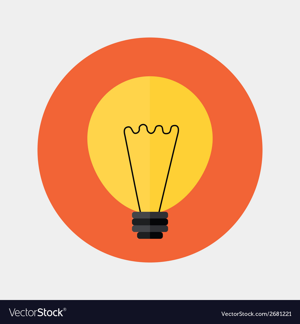 Flat orange lamp icon over red vector | Price: 1 Credit (USD $1)