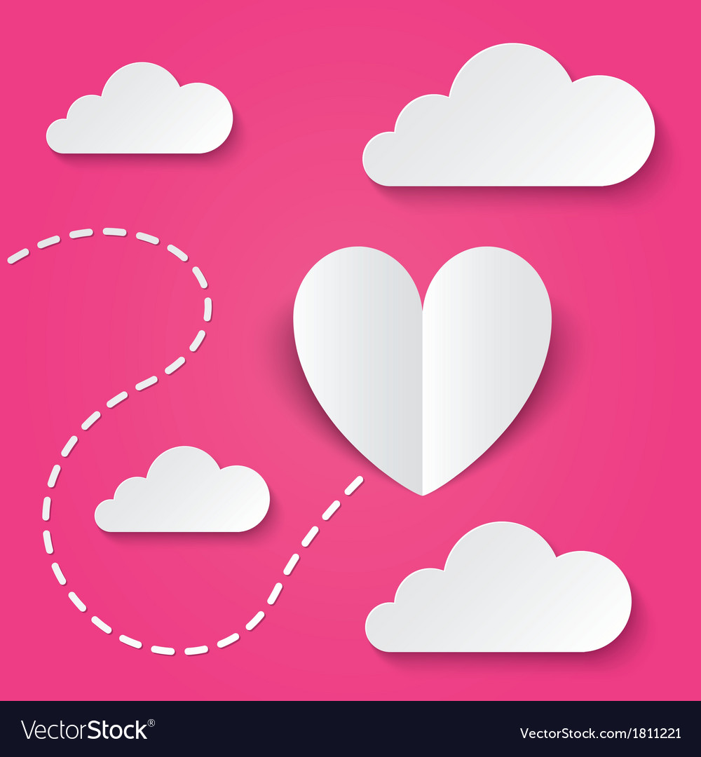 Paper heart valentines day card way to heart vector | Price: 1 Credit (USD $1)
