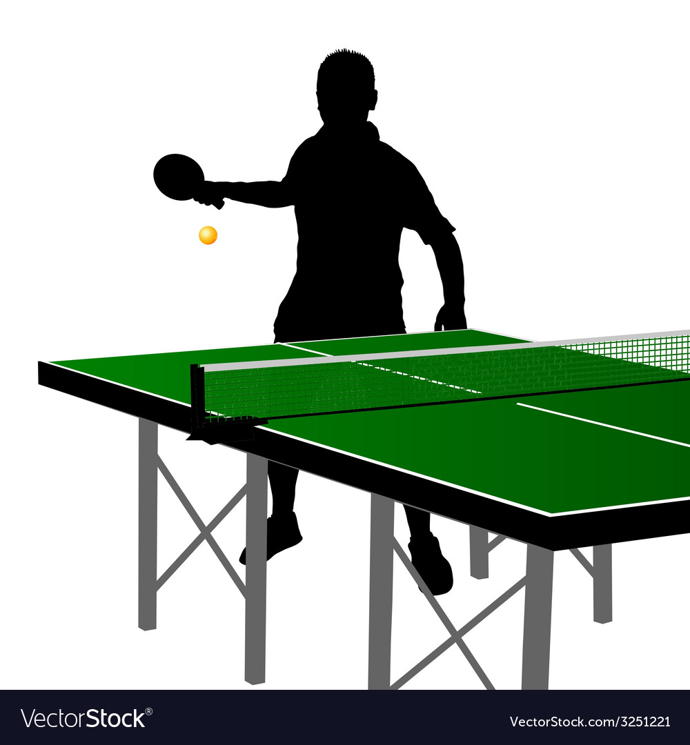 Ping pong player silhouette eight vector | Price: 1 Credit (USD $1)