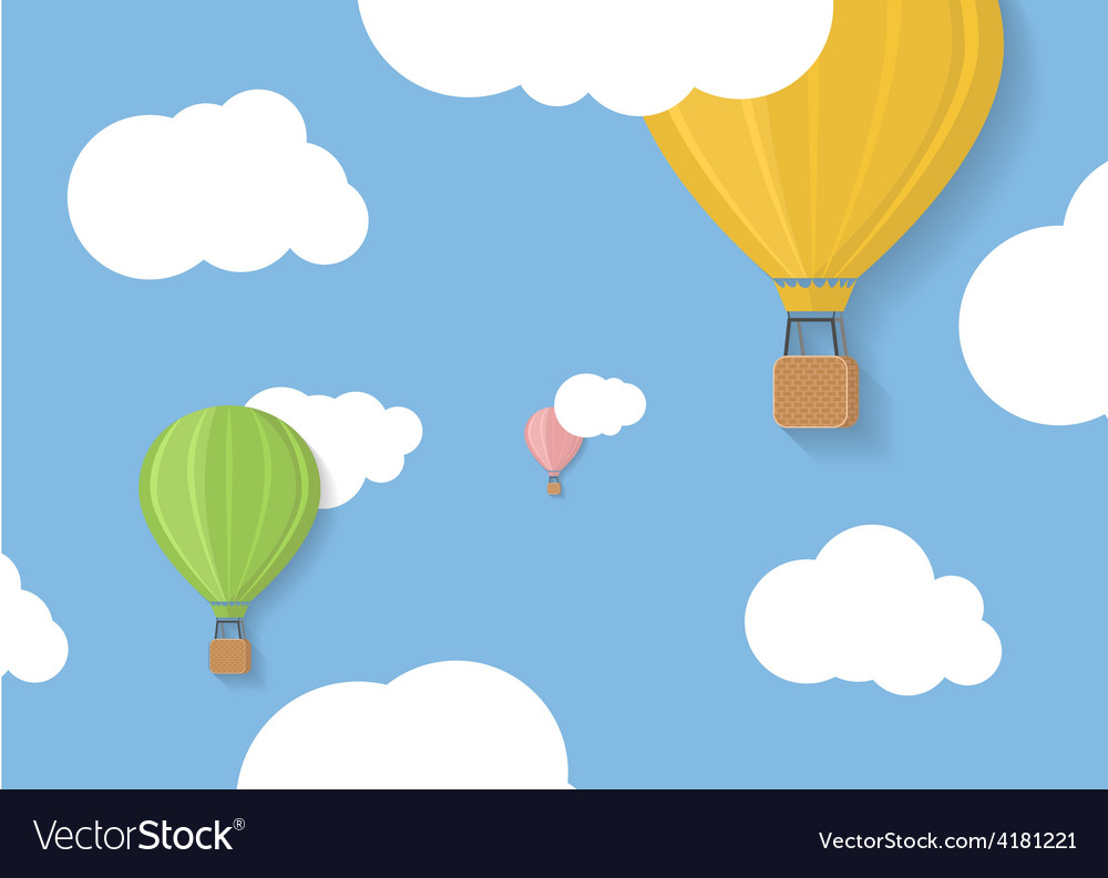 Three coloured aerostats in blue skies with clouds vector | Price: 1 Credit (USD $1)
