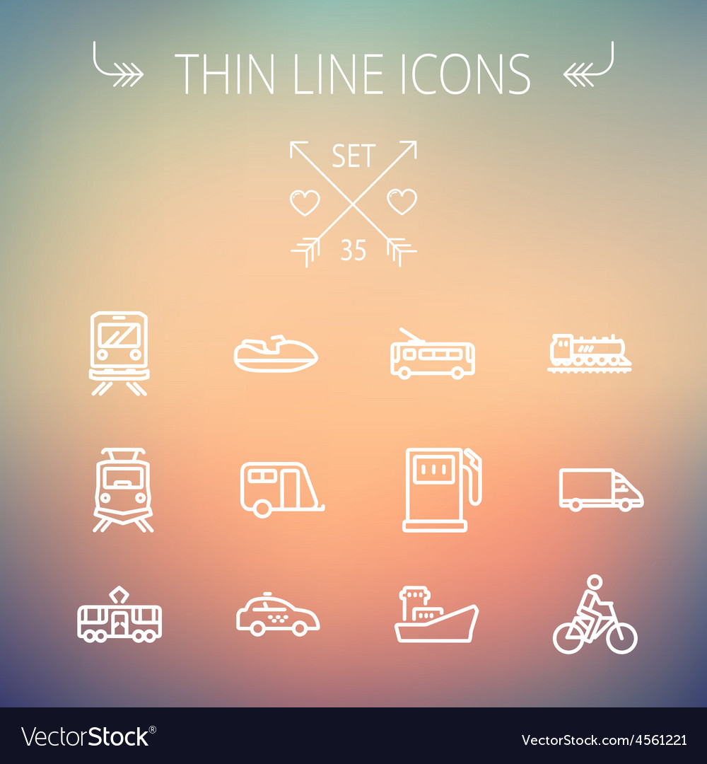 Transportation thin line icon set vector | Price: 1 Credit (USD $1)