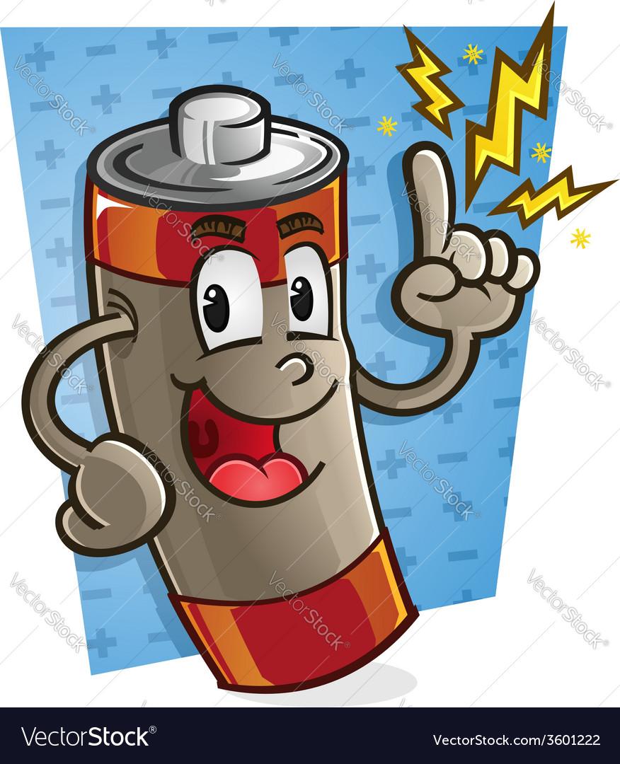 Battery cartoon character vector | Price: 3 Credit (USD $3)