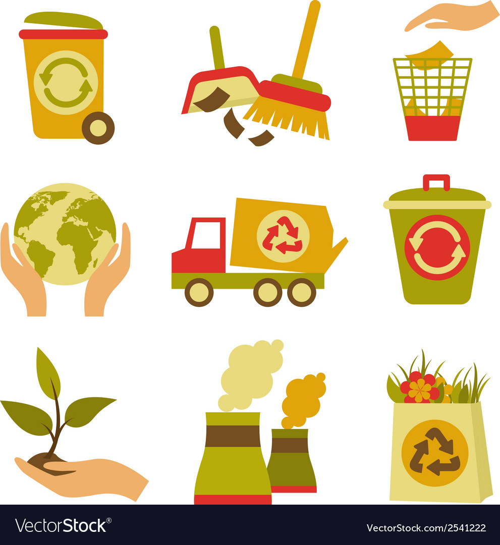 Ecology and waste icon set vector | Price: 1 Credit (USD $1)