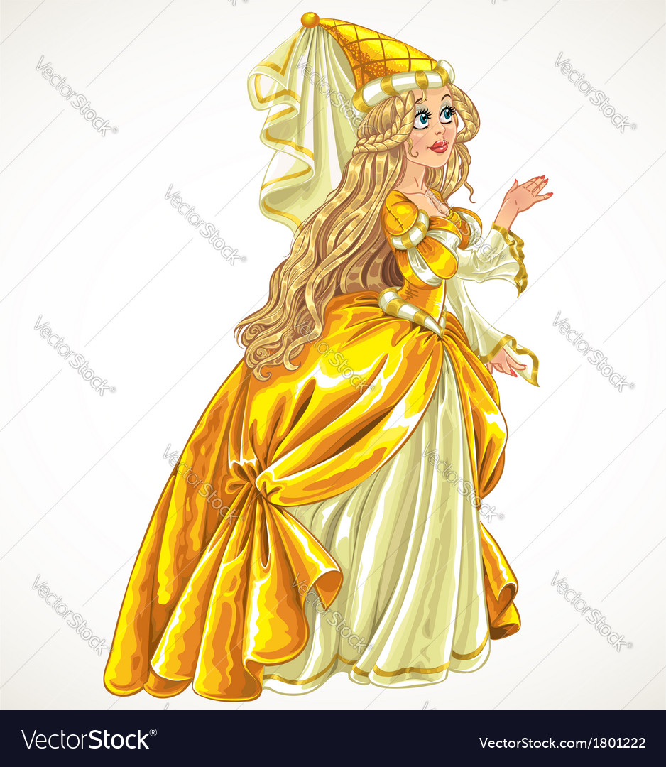 Princess in yellow dress say yes and give her hand vector | Price: 3 Credit (USD $3)